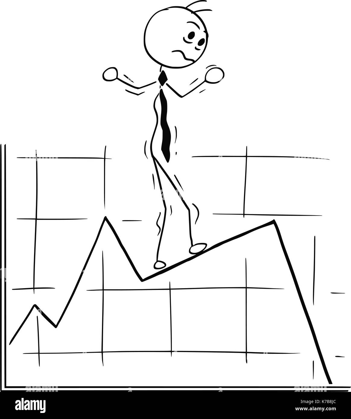 Cartoon stick man conceptual illustration of business man businessman walking carefully on graph chart line. Stock Vector