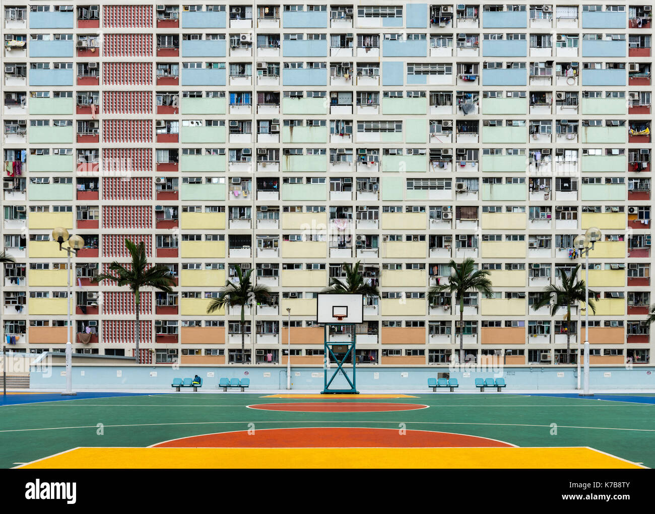 Choi Hung Estate, one of the oldest public housing estates in Hong Kong. It is located in the Wong Tai Sin District of Kowloon. Hong Kong. View from S - Stock Image