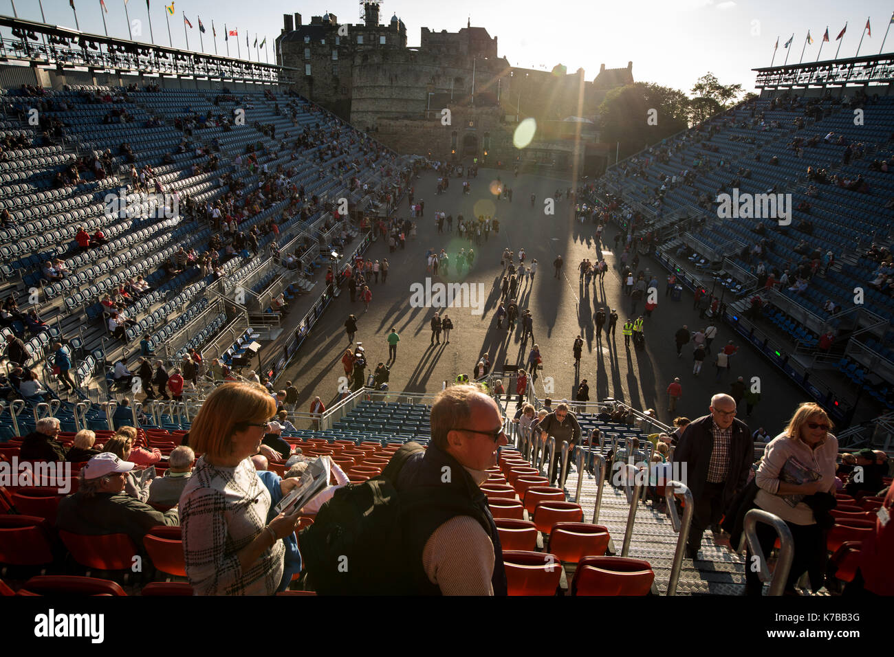 Edinburgh Royal Tattoo in front of Edinburgh Castle, in Edinburgh, in Scotland, on 15 September 2017. Stock Photo