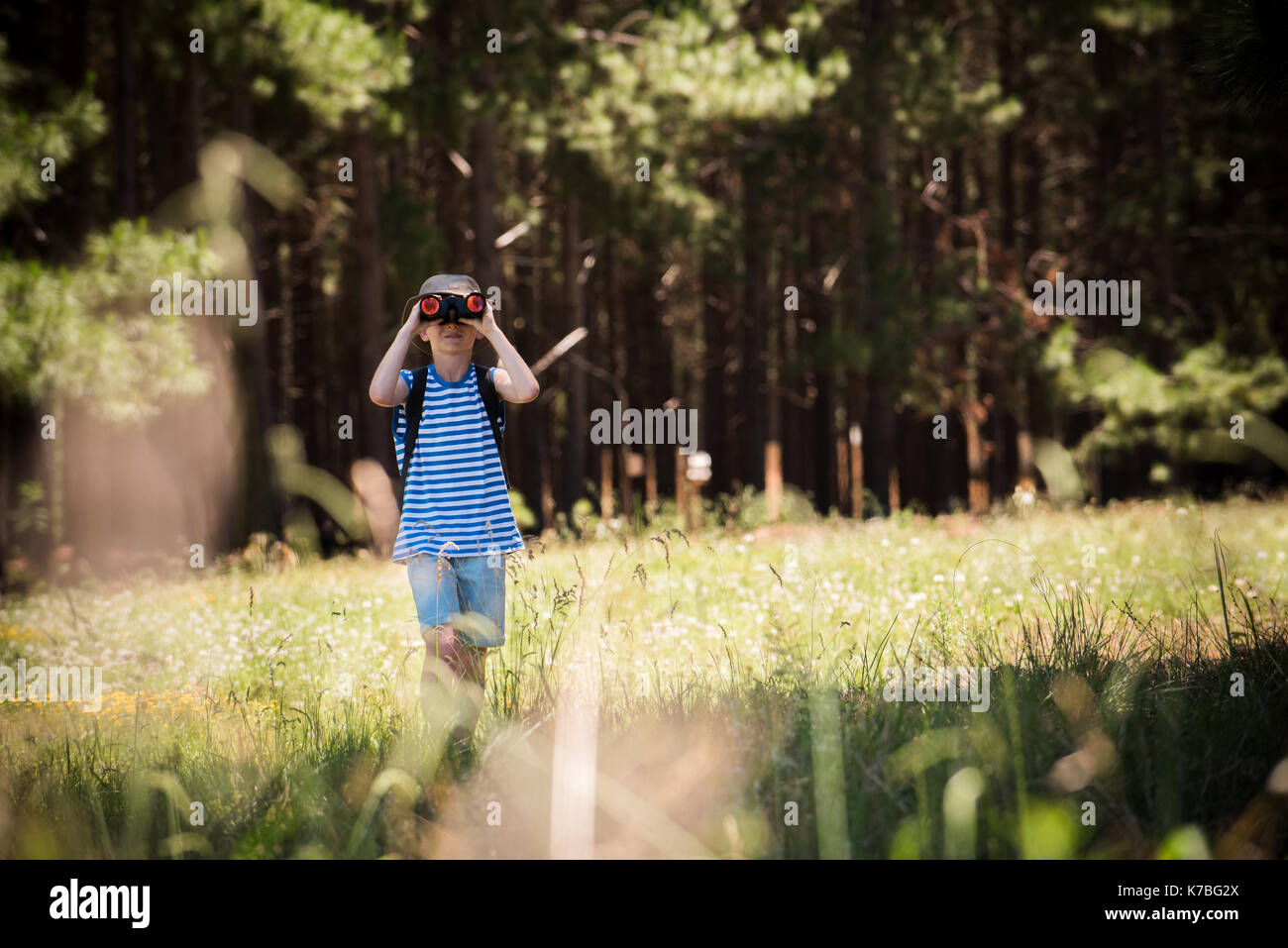 Boy exploring outdoors with binoculars - Stock Image