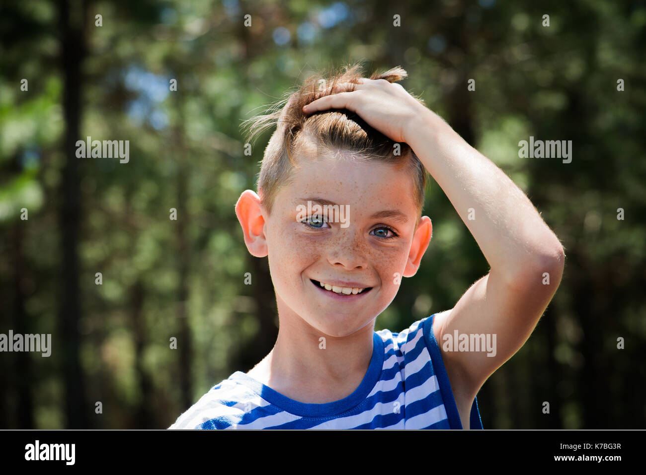 Preteen boy, portrait - Stock Image