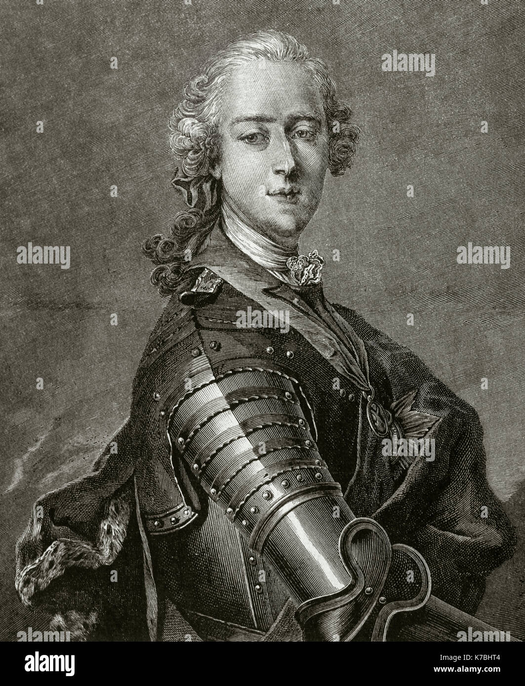 Charles Edward Stuart (1720-1788), known as The Young Pretender and The Young Chevalier. Second Jacobite pretender - Stock Image
