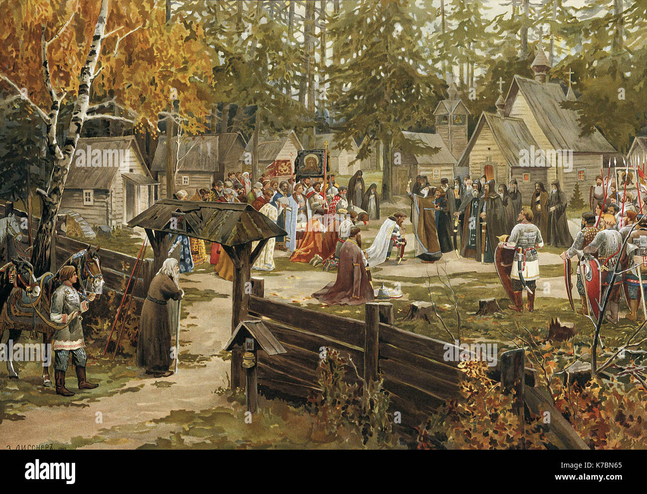 Sergius of Radonezh blessing Dmitry Donskoy in Trinity Sergius Lavra, before the Battle of Kulikovo, depicted in a painting by Ernst Lissner - Stock Image