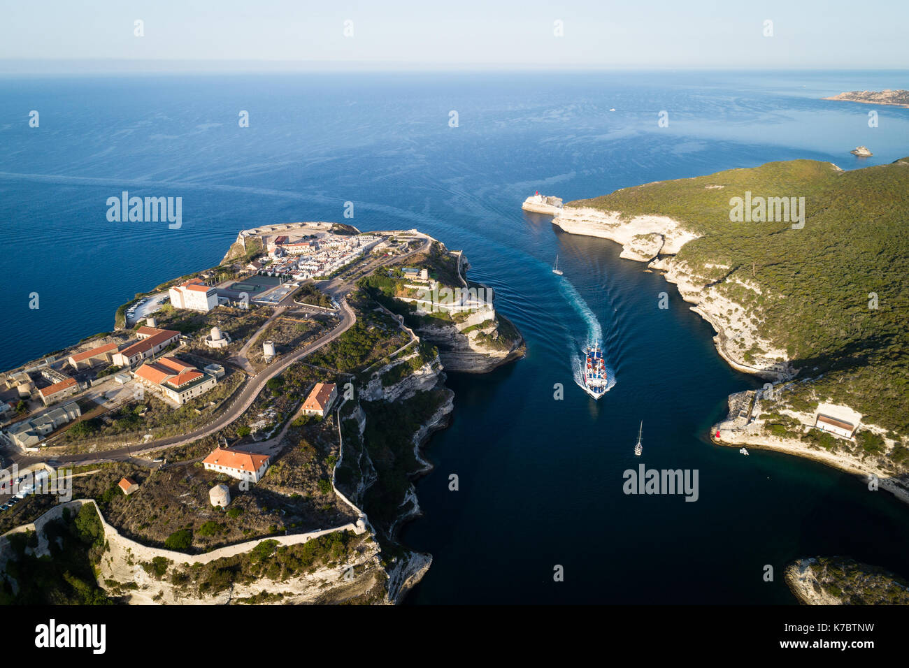 Historical center of city Bonifacio and entrance into port, Corsica, France - Stock Image