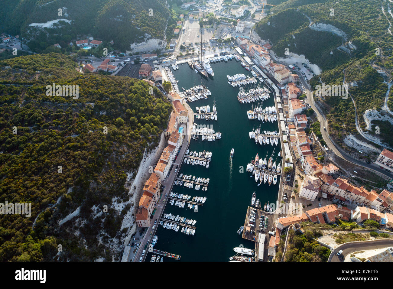 Aerial view of boats and yachts in marina of Bonifacio, Corsica, France - Stock Image