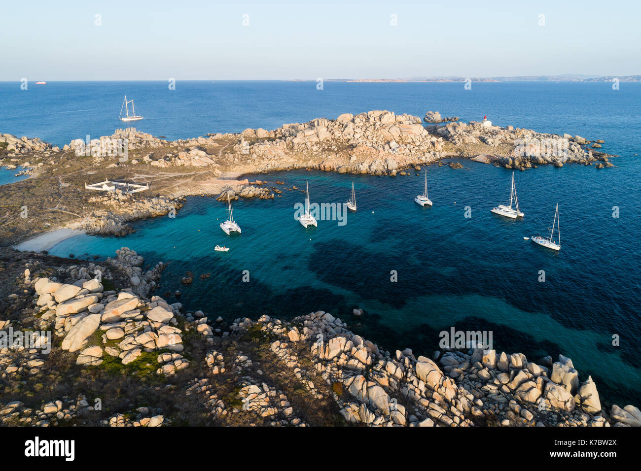 Sailing yacht anchored by the Lavezzi island, France - Stock Image