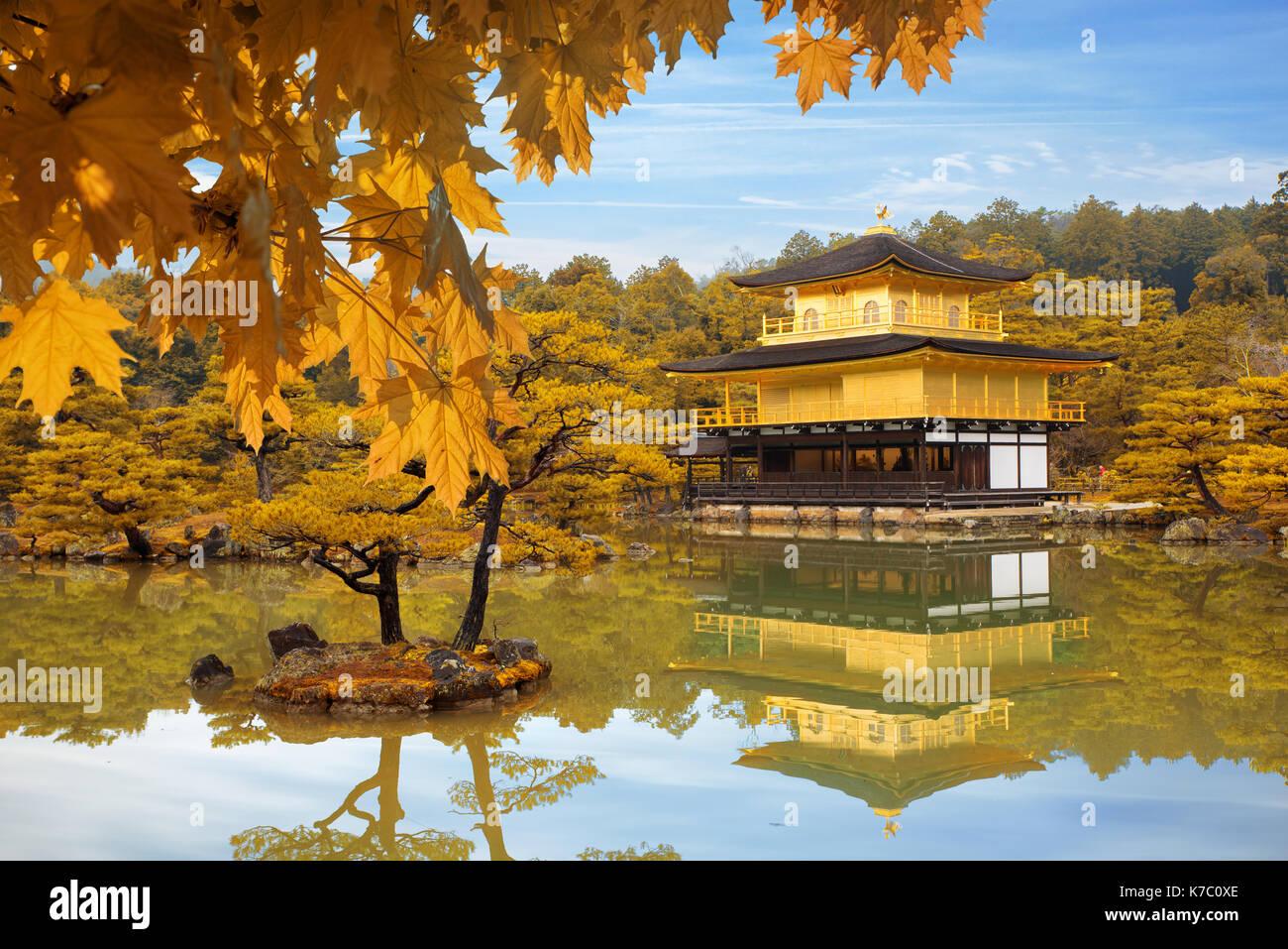 Japan Autumn season of Kinkakuji Temple (The Golden Pavilion) in Kyoto, Japan. Stock Photo