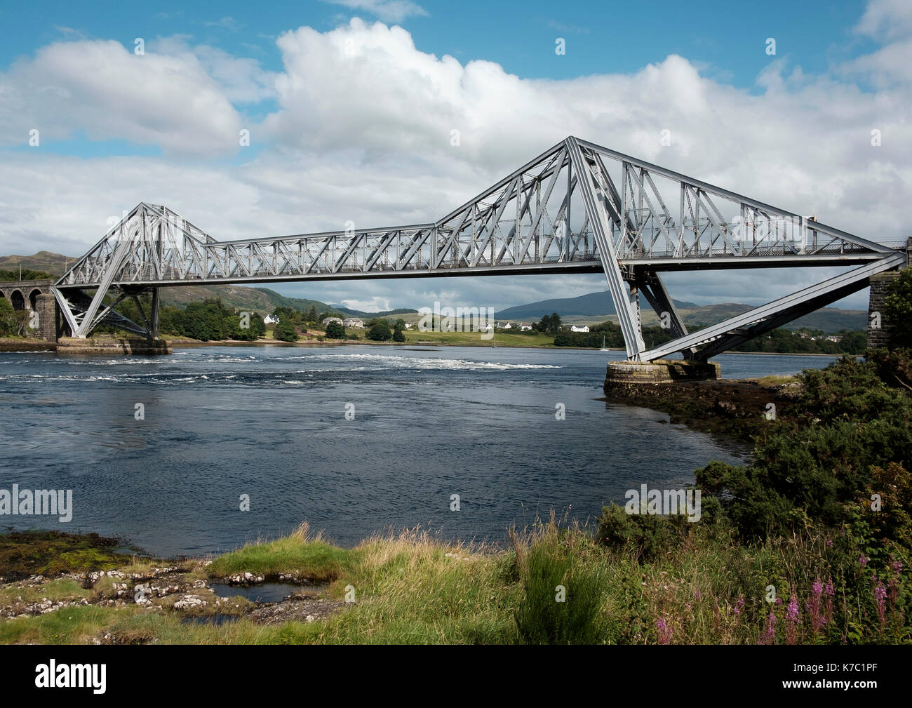 The steel cantilever bridge at Connel carrying the A828  over the entrance to Loch Etive above the Falls of Lora, Argyll and Bute, Scotland - Stock Image