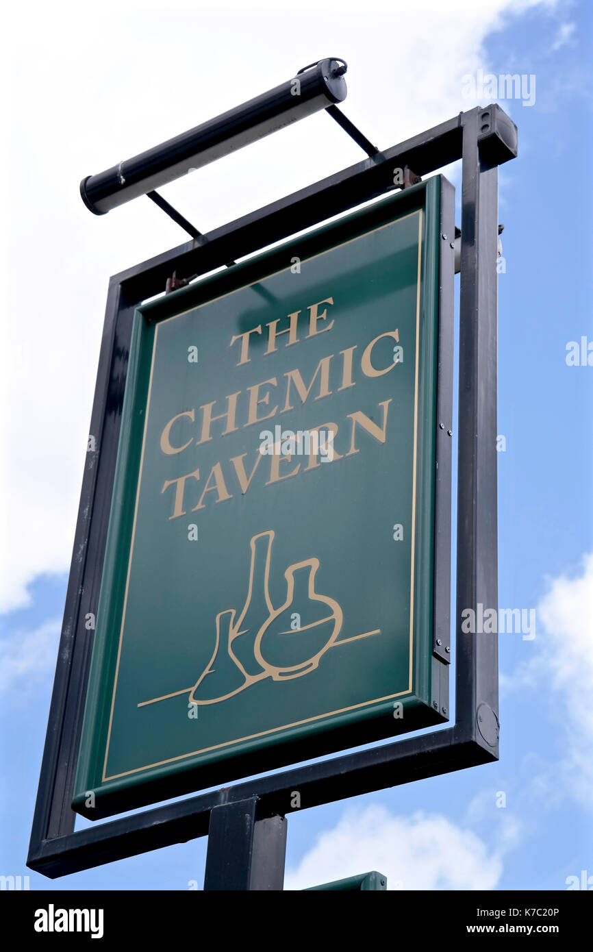 Pub sign, The Chemic Tavern, Woodhouse, Leeds West Yorkshire. Stock Photo