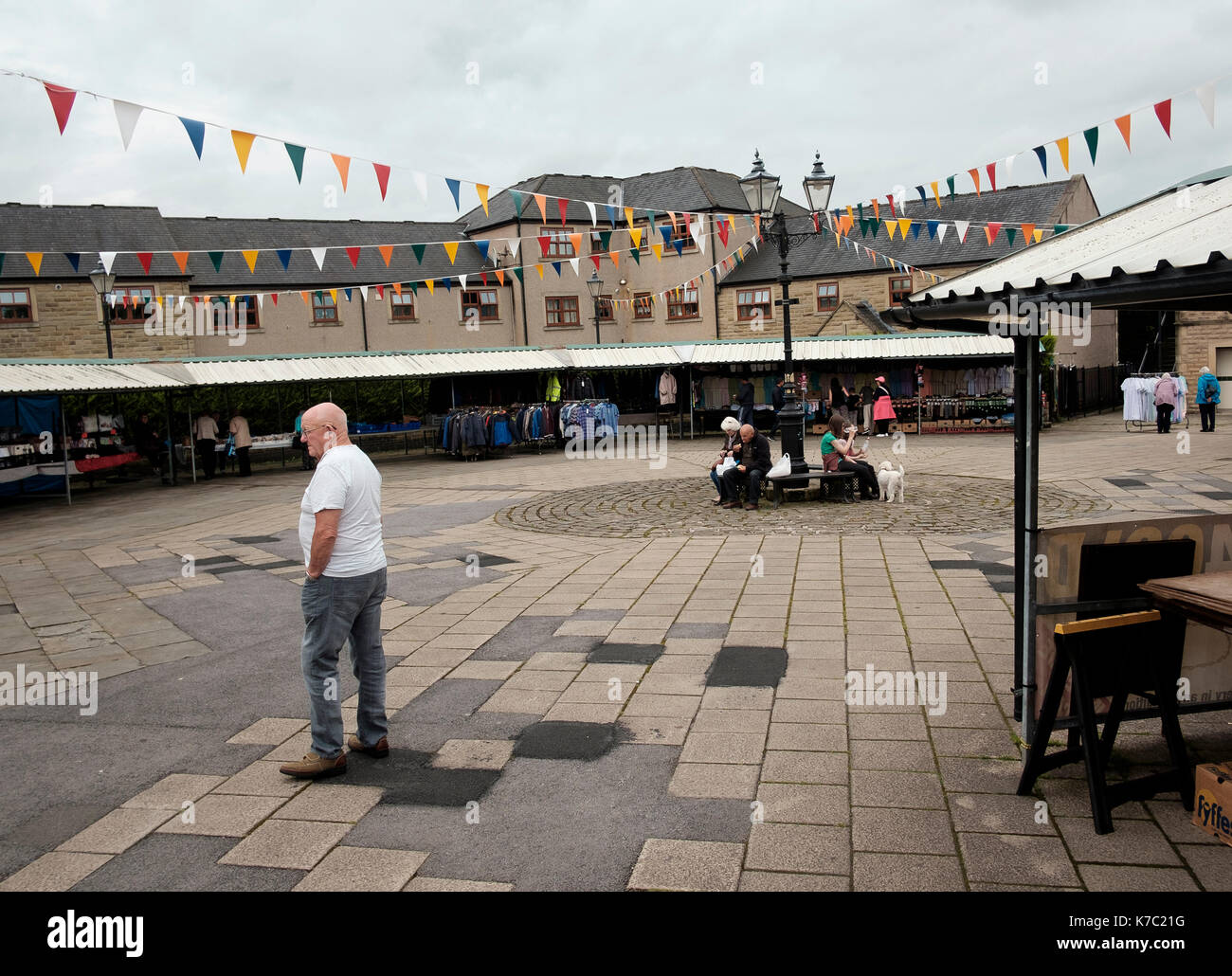 The new market place in the centre of the Lancashire town of Clitheroe - Stock Image