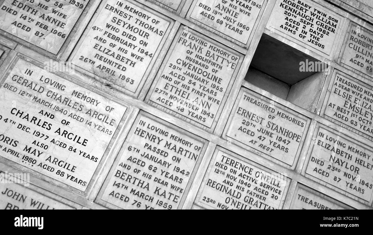 Columbarium at Lawnswood cemetery, Leeds. Opened in 1875. - Stock Image