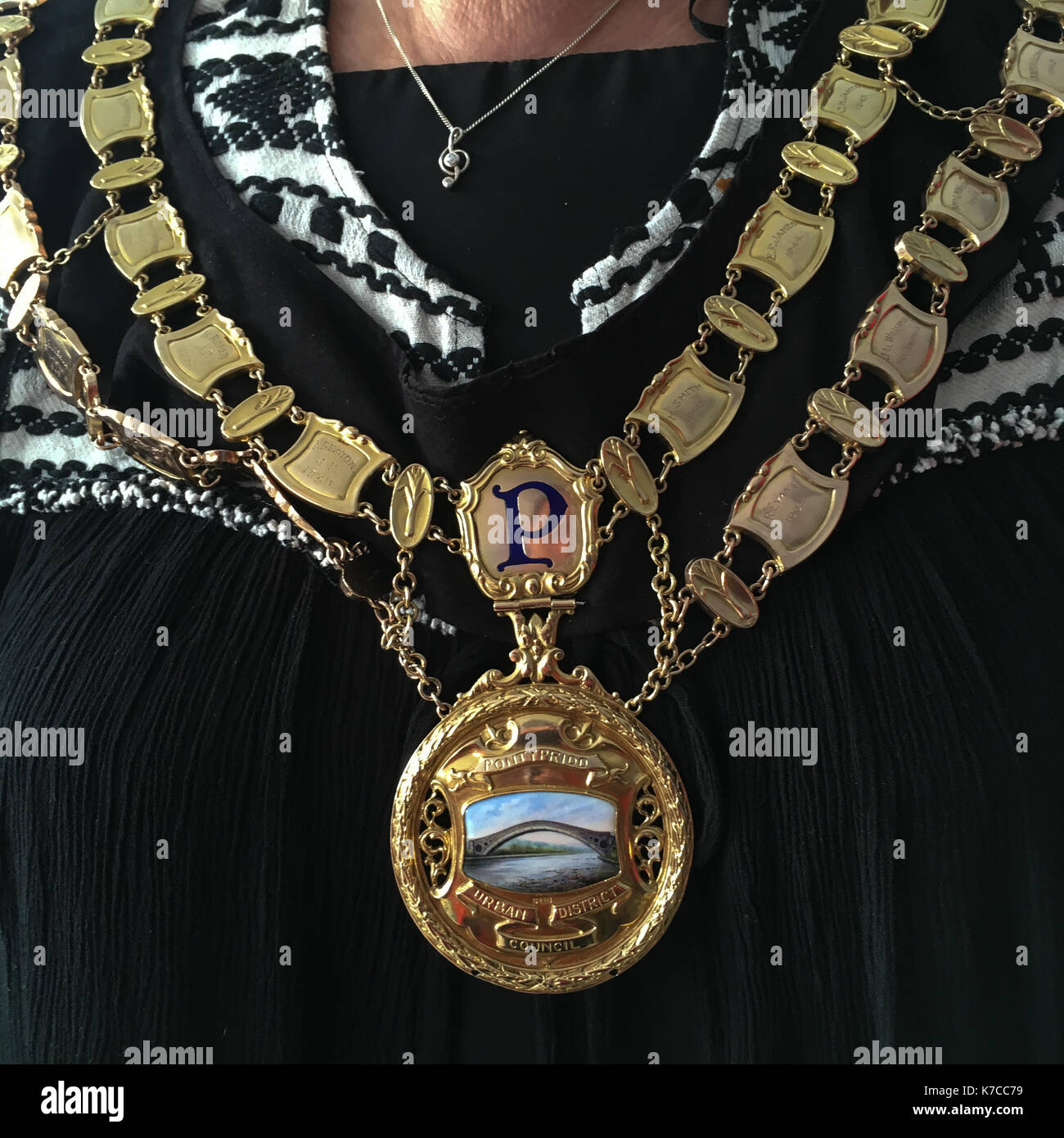 Mayor's chains in Pontypridd, in Wales, on 15 September 2017. - Stock Image