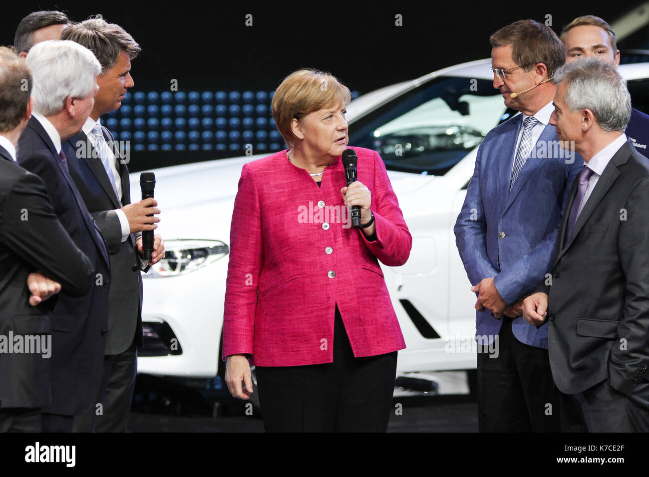 Frankfurt, Germany. 14th September, 2017. International Motor Show 2017 (IAA, Internationale Automobil-Ausstellung), opening walk with Angela Merkel, chancellor of Germany, here at BMW booth. Credit: Christian Lademann - Stock Image