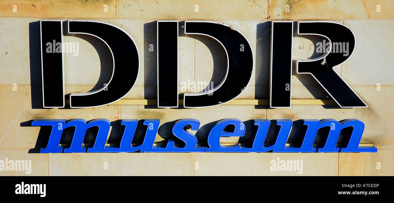 BERLIN-MAY 30: DDR museum signboard,Berlin,Germany,on May 30,2011. - Stock Image