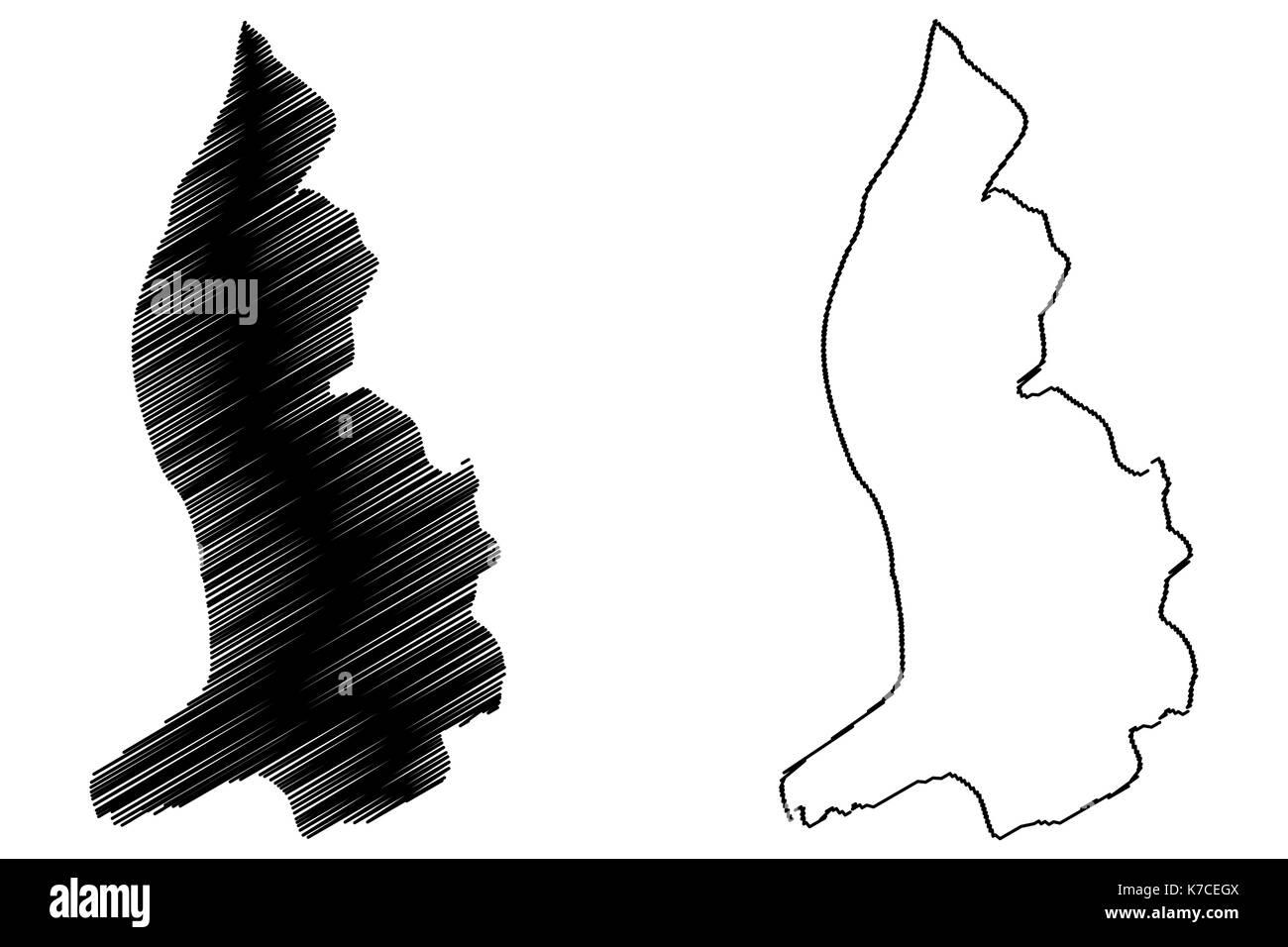 Lichtenstein map vector illustration, scribble sketch Lichtenstein - Stock Vector