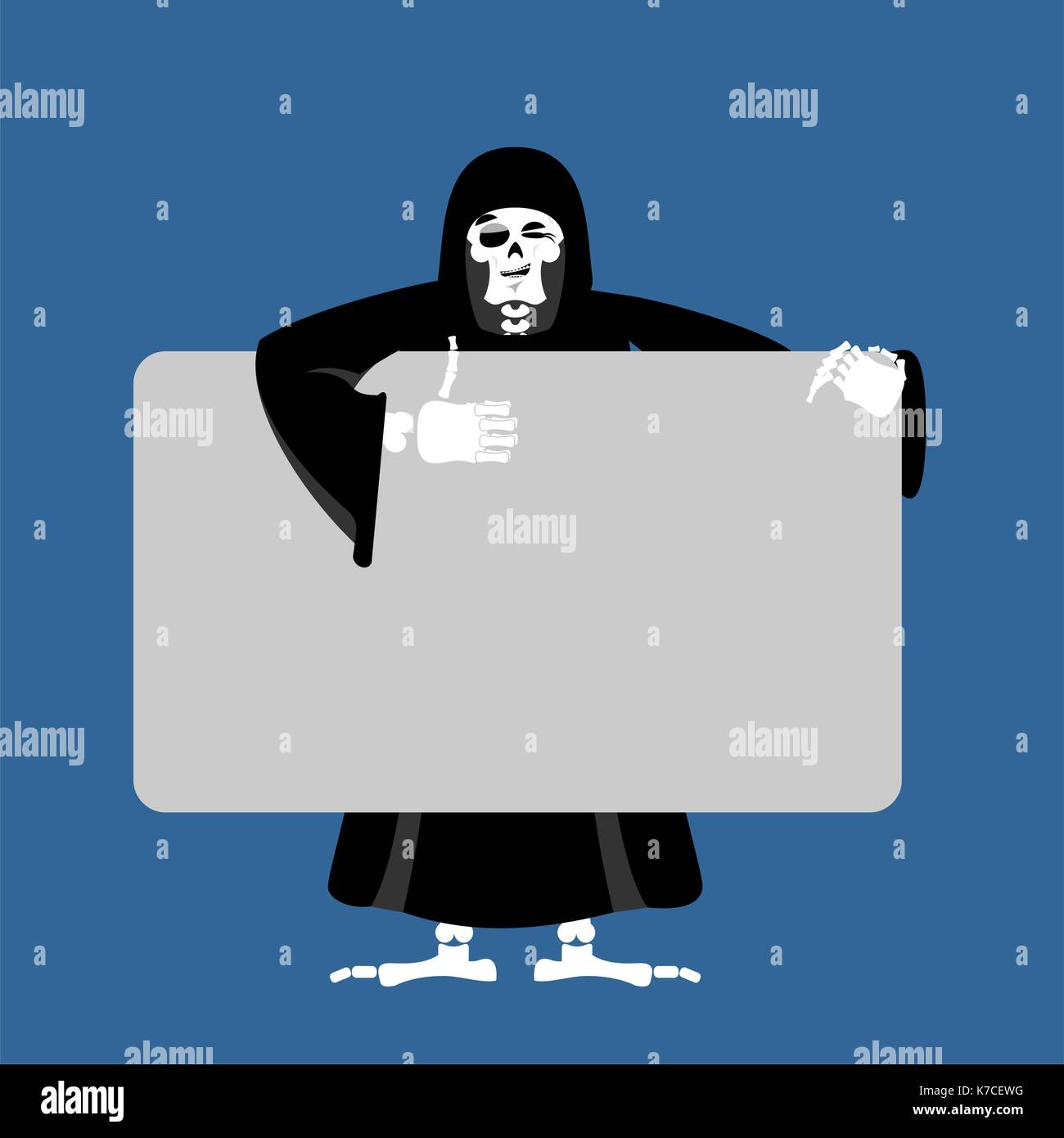 Grim Reaper Holding Banner Blank Death And White Blank Skeleton In