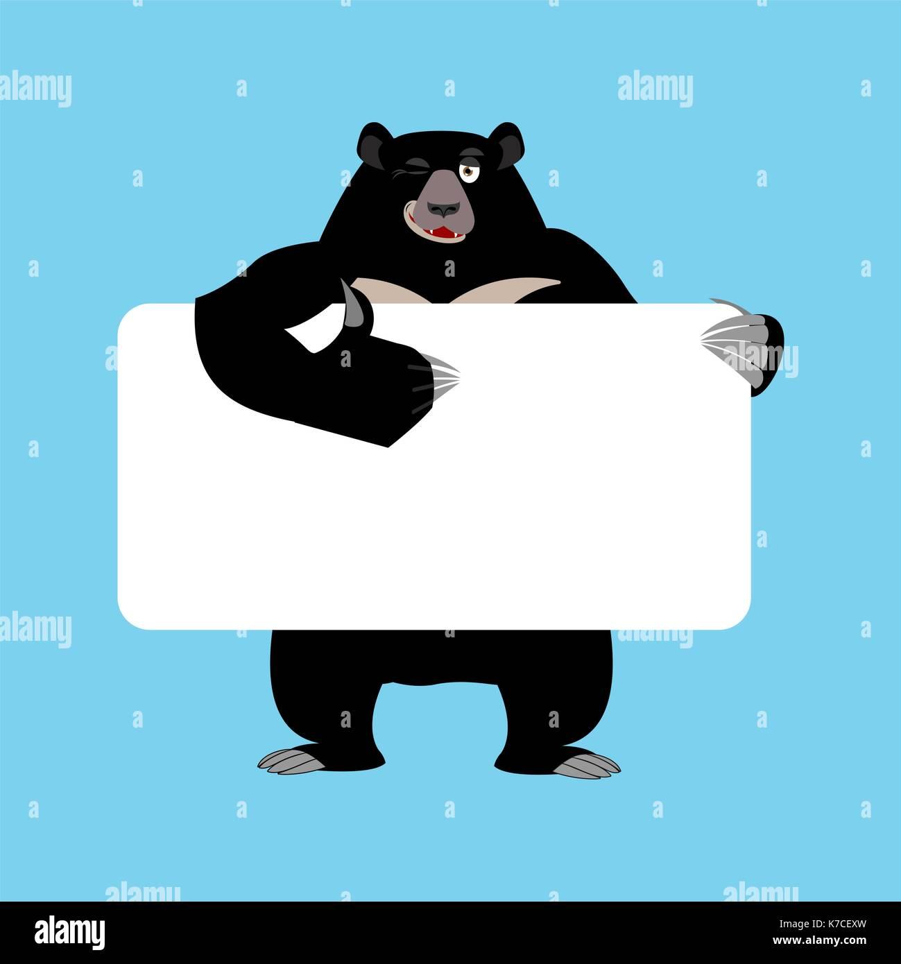 Himalayan bear holding banner blank. American black bear and white blank. Baribal joyful emotion. Big animal and place for text. Vector illustration - Stock Vector