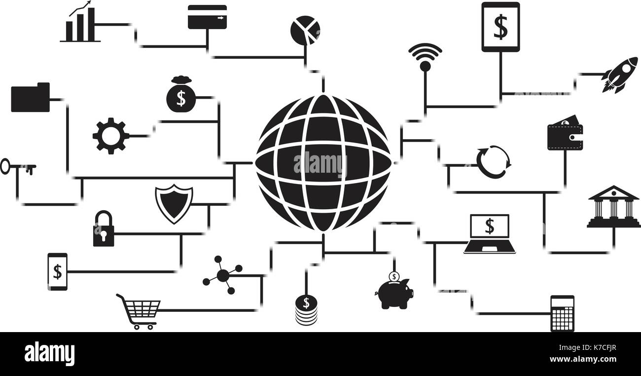 Vector Fintech Black Icons Around A Globe Involving In Financial Technology, Banking, And Investment On White Background With Black Digital-Like Lines - Stock Image