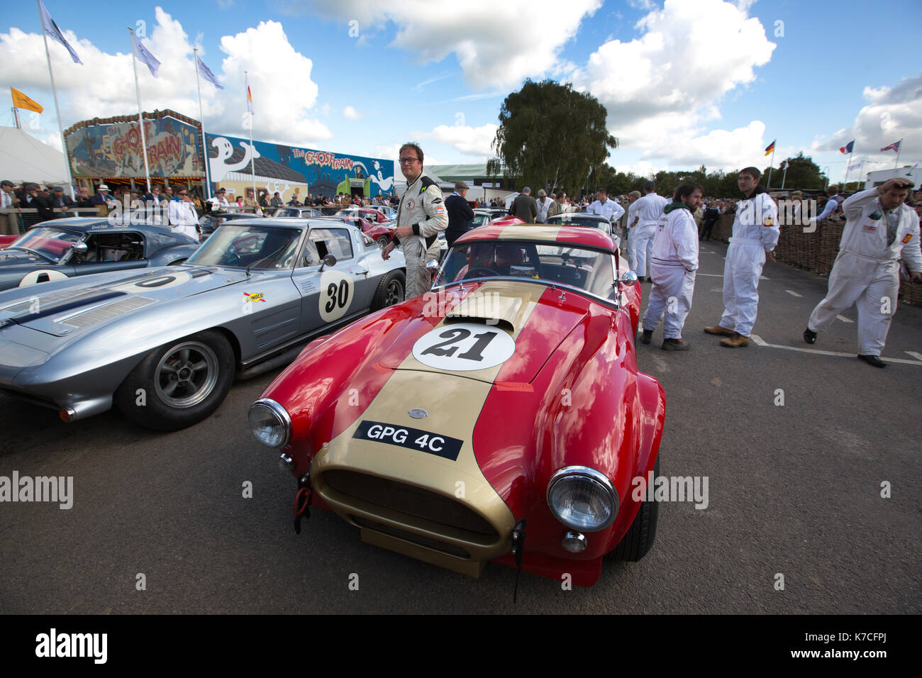 1964 AC Cobra in the assembly area Goodwood Revival 2017 Meeting, Goodwood race track, West Sussex, England, UK - Stock Image