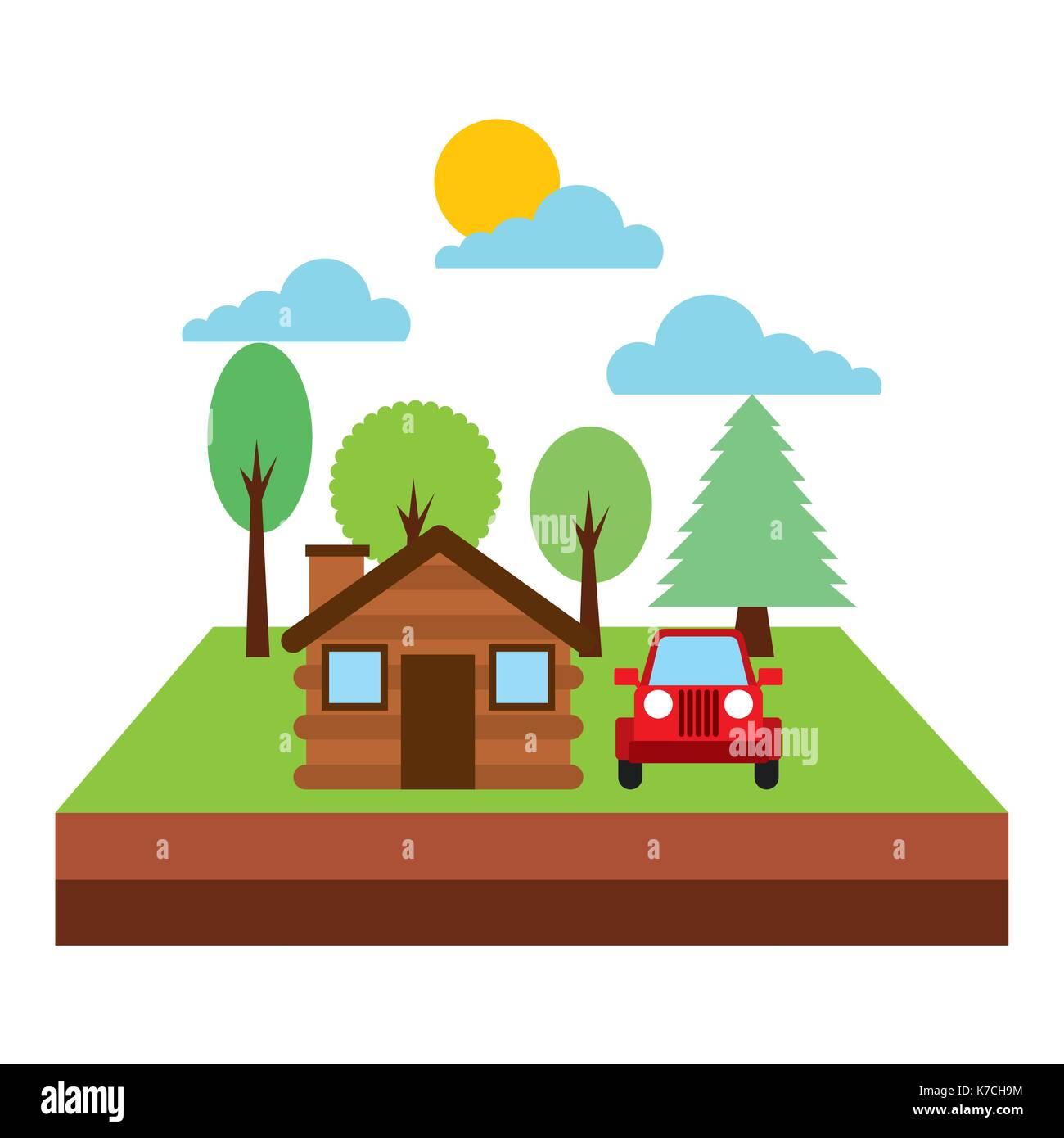 forest cottage house jeep natural landscape - Stock Image