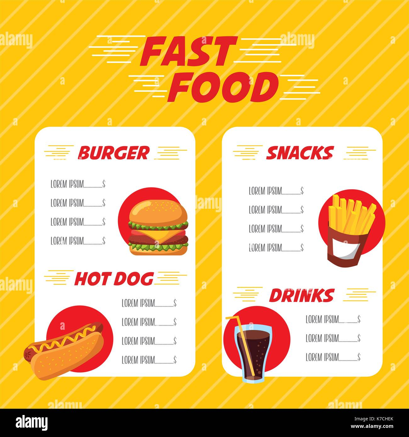Fast Food Restaurant Menu Brochure Stock Vector Image Art Alamy