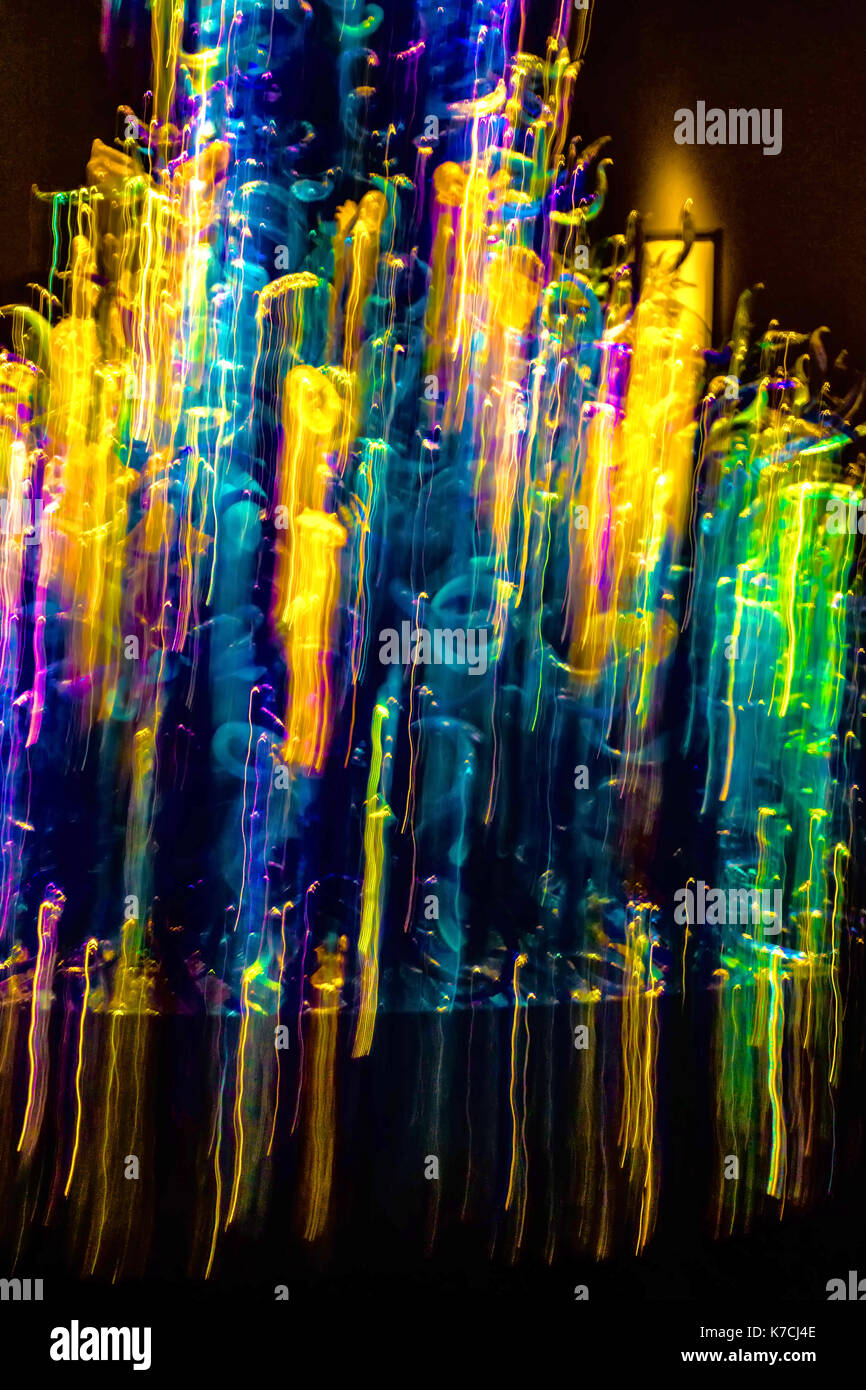 Abstract photo of colored  horizontal  lights in motion. Stock Photo