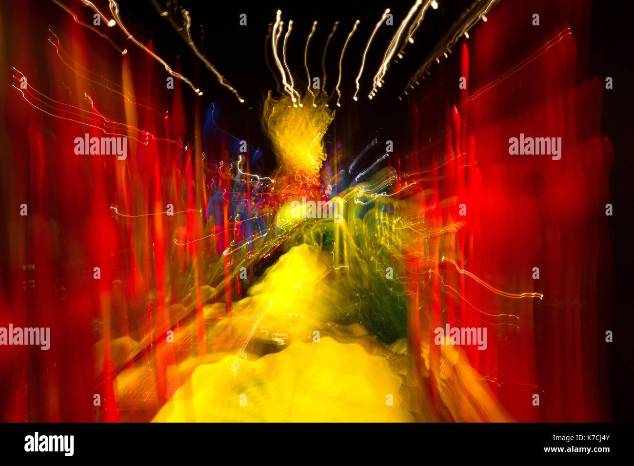 Abstract photo with multiple color lights in motion Stock Photo