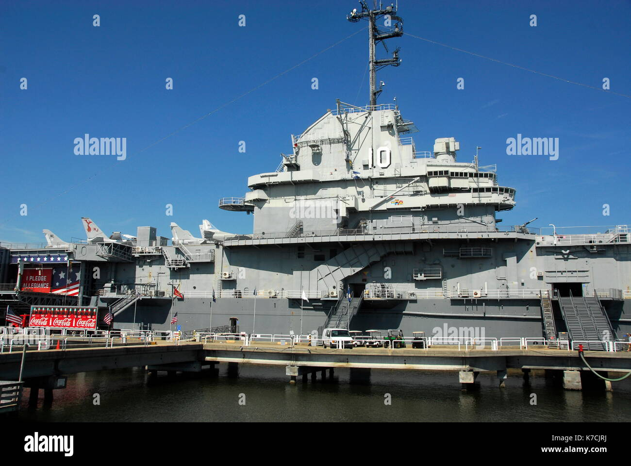 USS Yorktown is a US Navy aircraft carrier and is a National Historic landmark as a museum ship at Patriots Point, Mount Pleasant, South Carolina - Stock Image