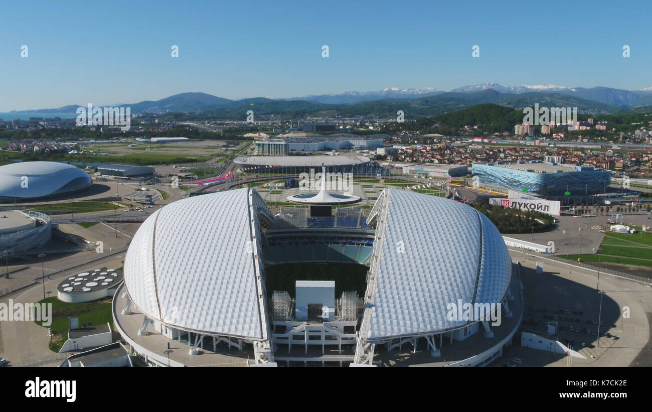 Aerial Football stadium Fischt. Sochi, Adler , Russia, Olympic Torch and Fisht stadium built for Winter Olympic - Stock Image