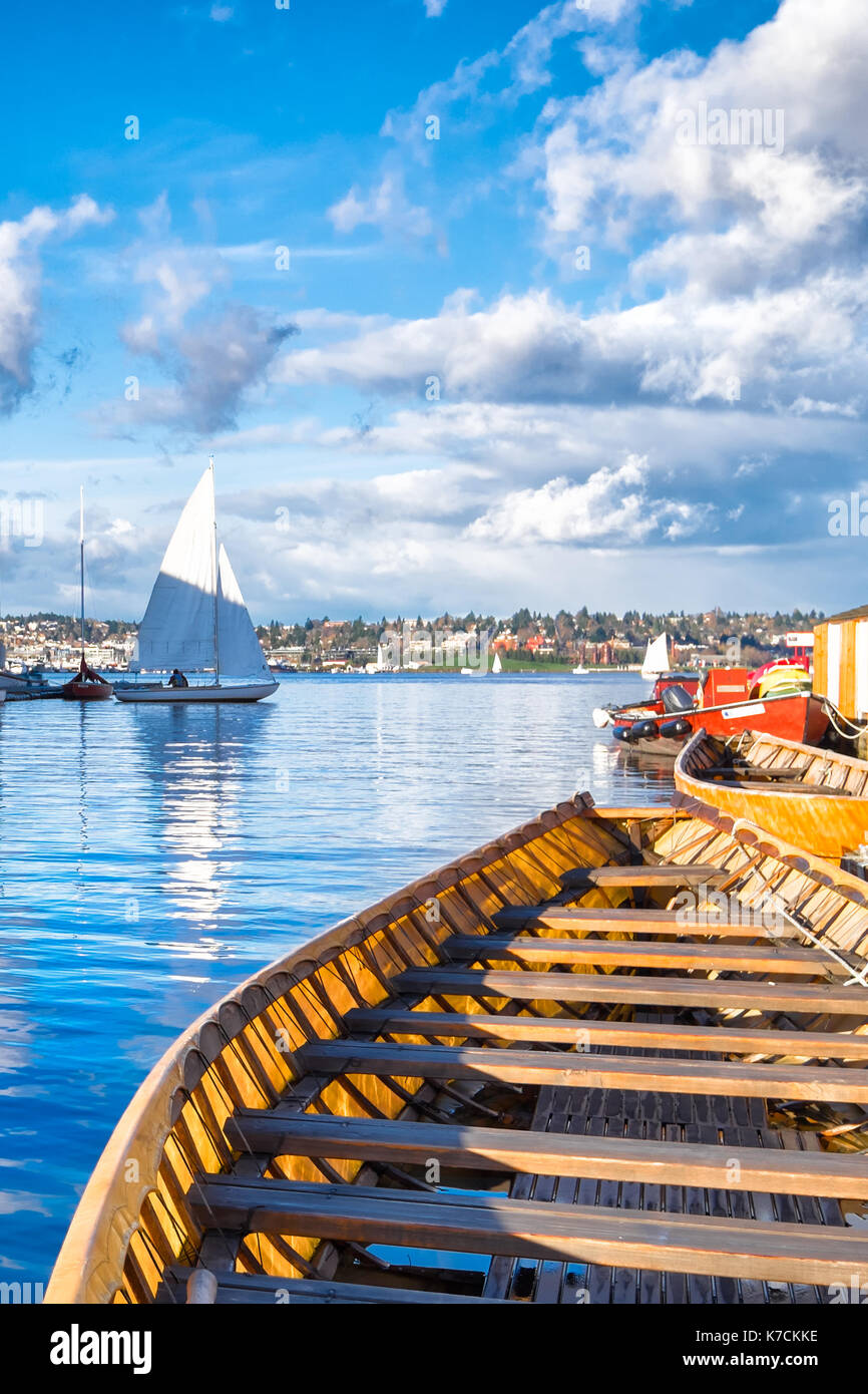 Seattle Lake Union. Canoe close up in the foreground. - Stock Image
