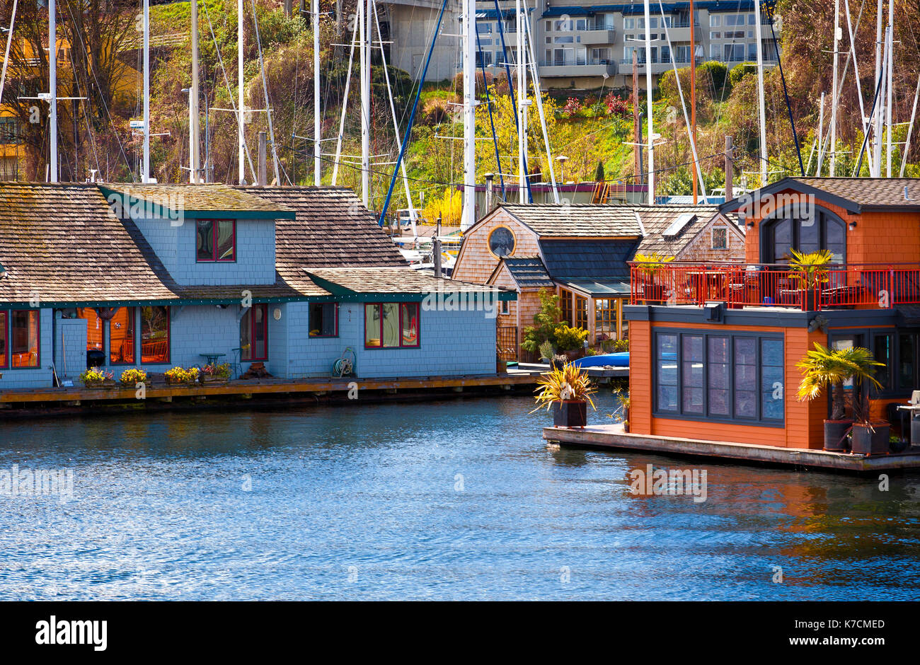 Houseboats and floating homes in Lake Union, Seattle, Washington - Stock Image