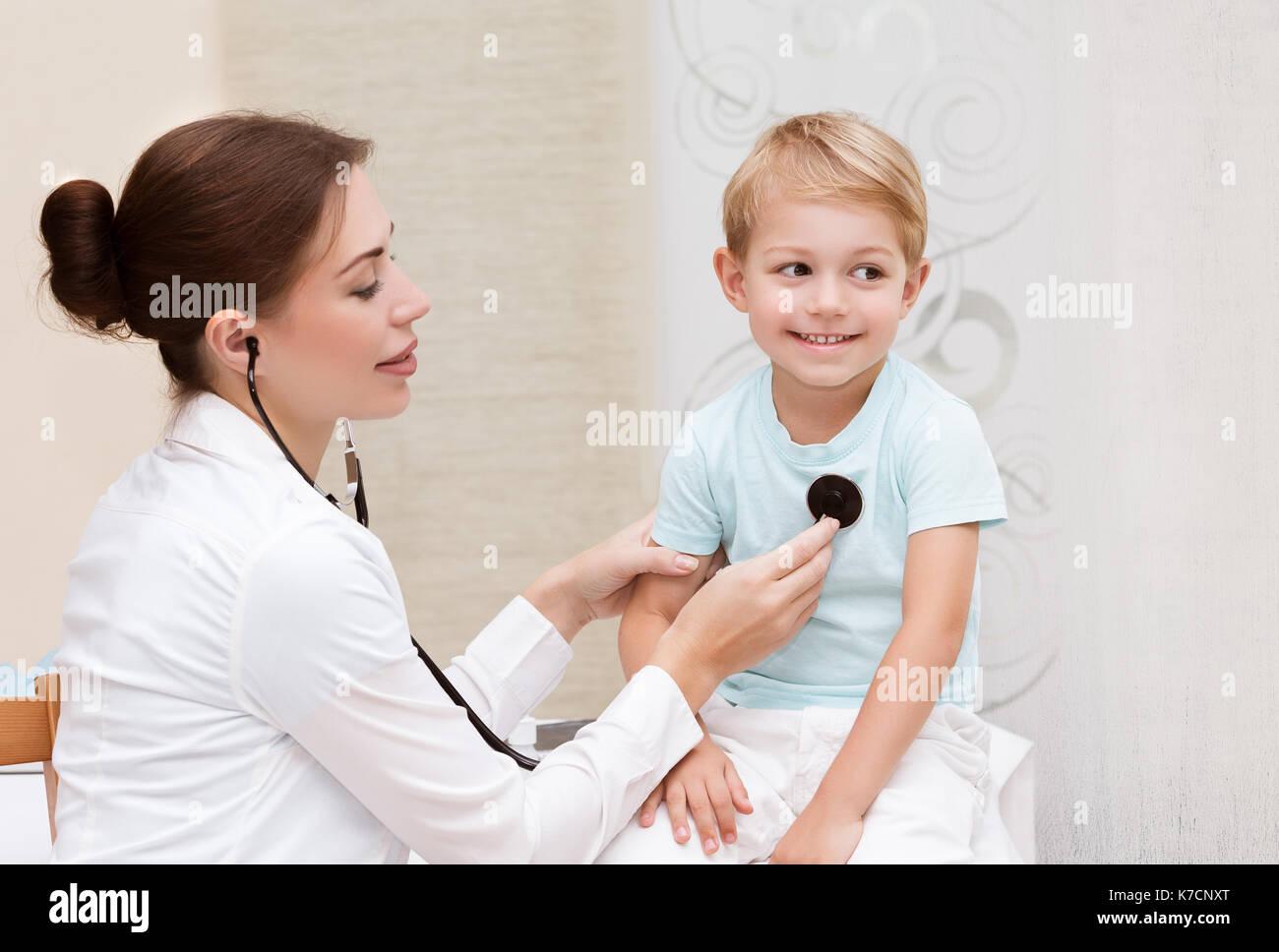 Little Boy Hold Stethoscope Listen To Doctor Heart Stock