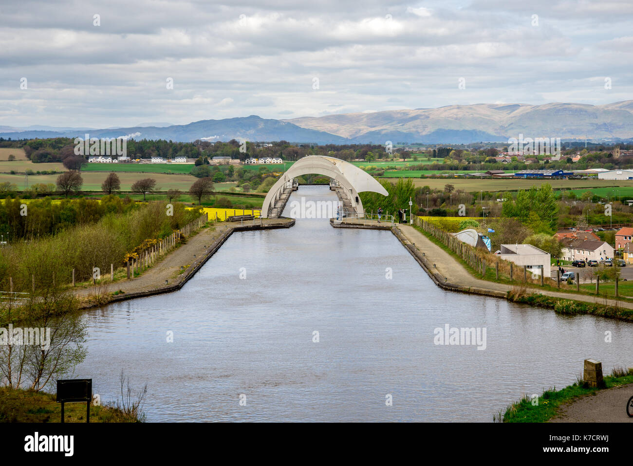 A view of Falkirk Wheel aqueduct and background hills, Scotland - Stock Image