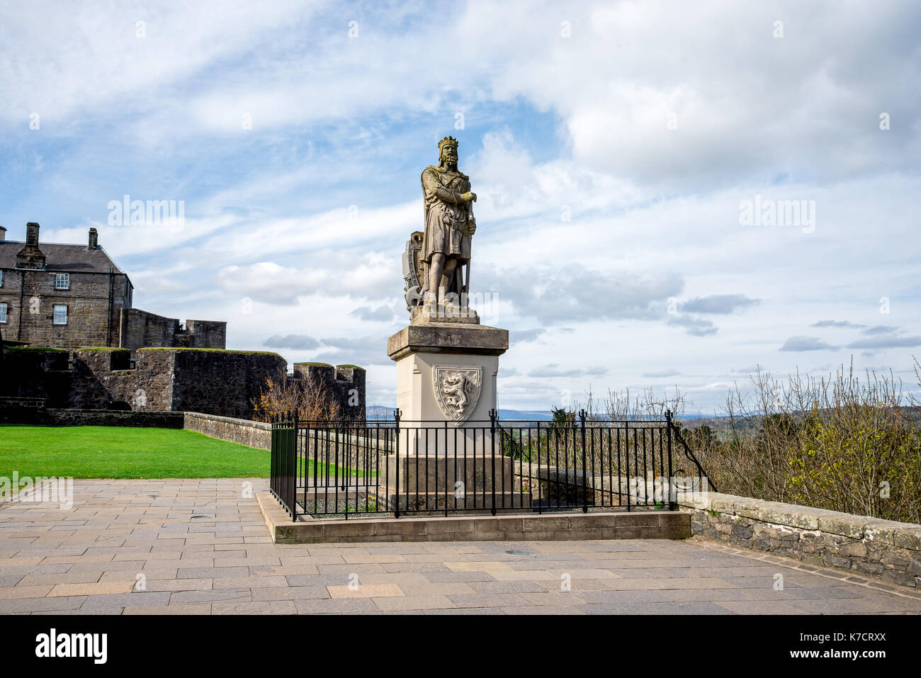 Statue of Robert the Bruce outside of Striling Castle, central Scotland - Stock Image