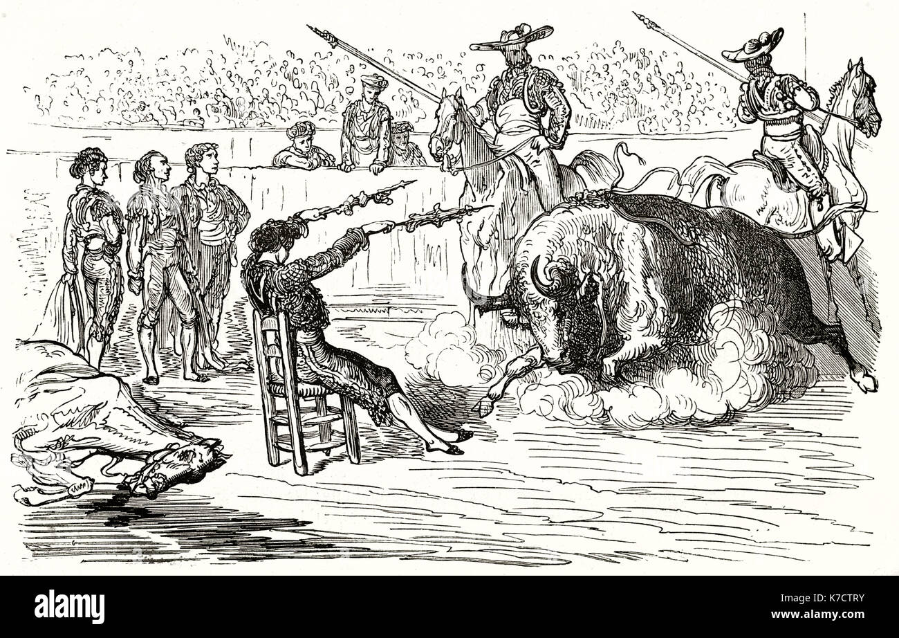 Old illustration of bullfighting. By Dore, publ. on Le Tour du Monde, Paris, 1862 - Stock Image