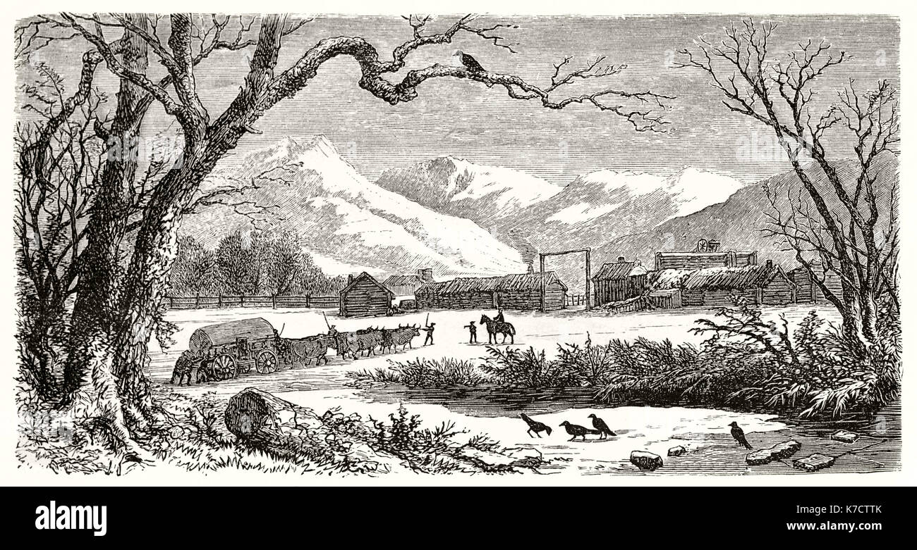 Old view of Camp Floyd, Utah By Ferogio after Stansbury, publ. on Le Tour du Monde, Paris, 1862 - Stock Image