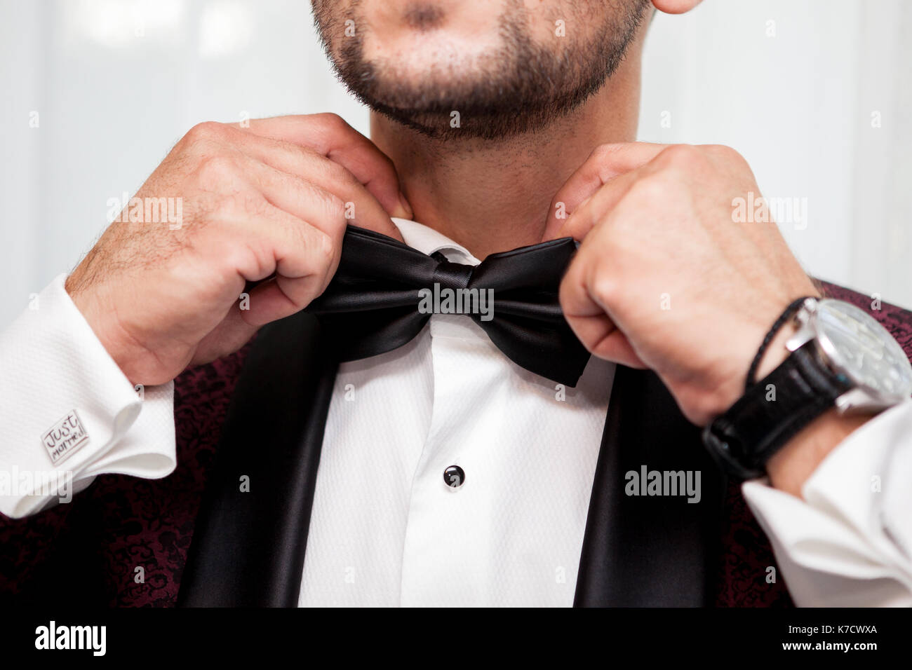 Groom in his weeding day in preparation Stock Photo