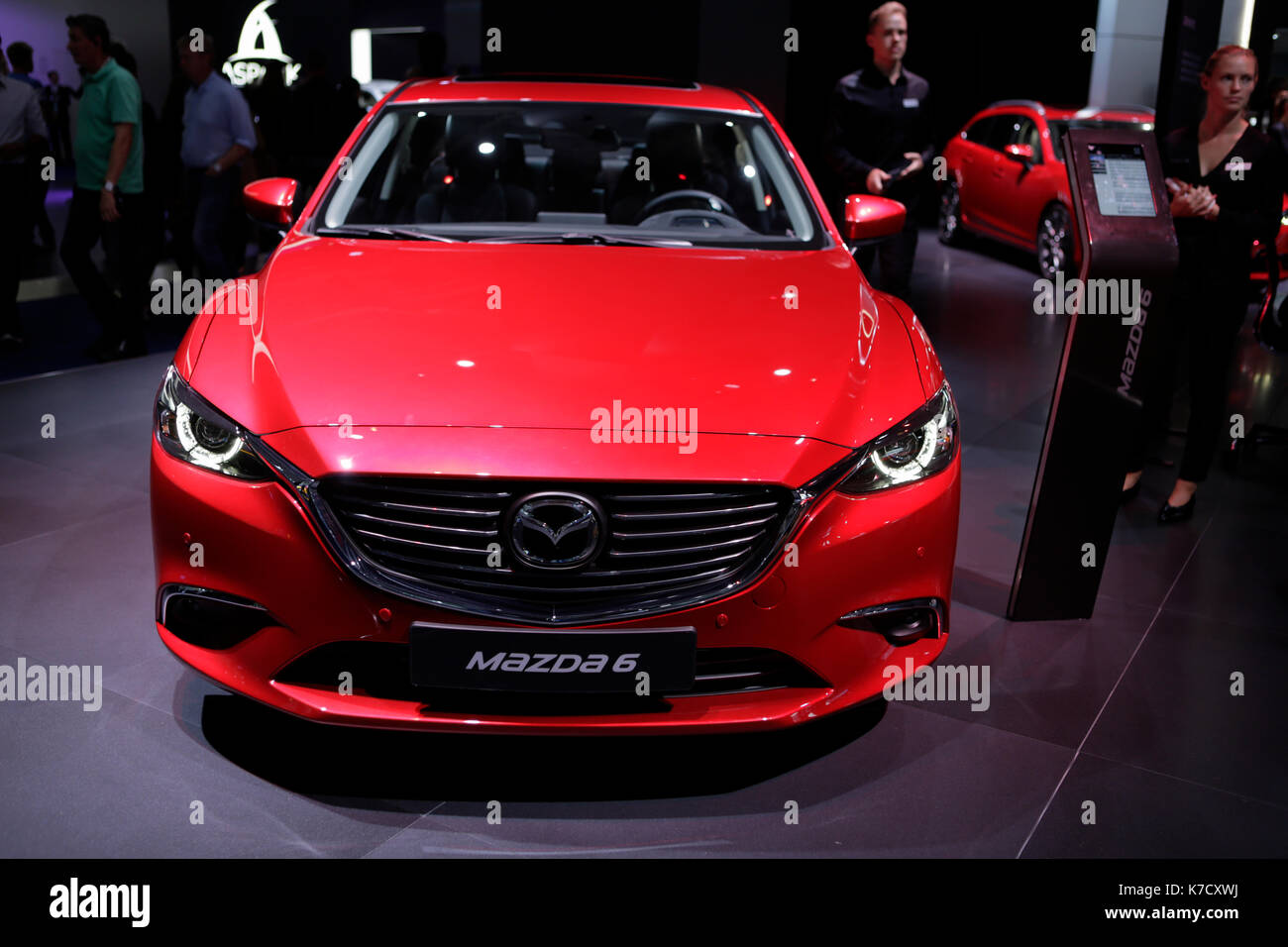 Frankfurt, Germany. 14th Sep, 2017. The Japanese car manufacturer Mazda presents the Mazda6 at the 67. IAA. The Stock Photo