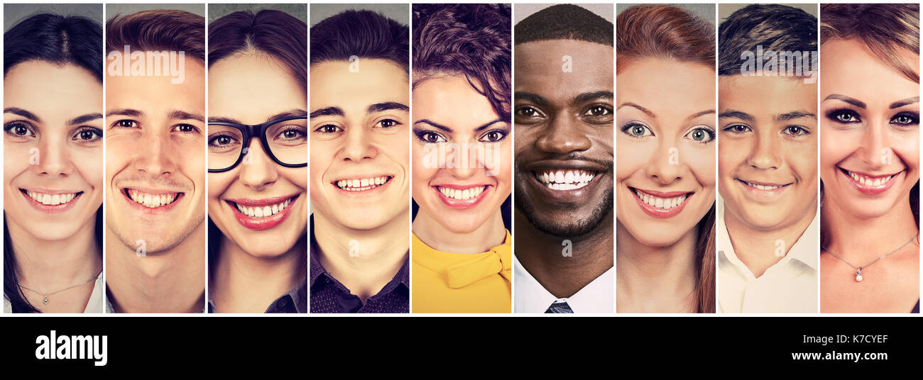 smiling faces happy group of people stock photo 159480903 alamy