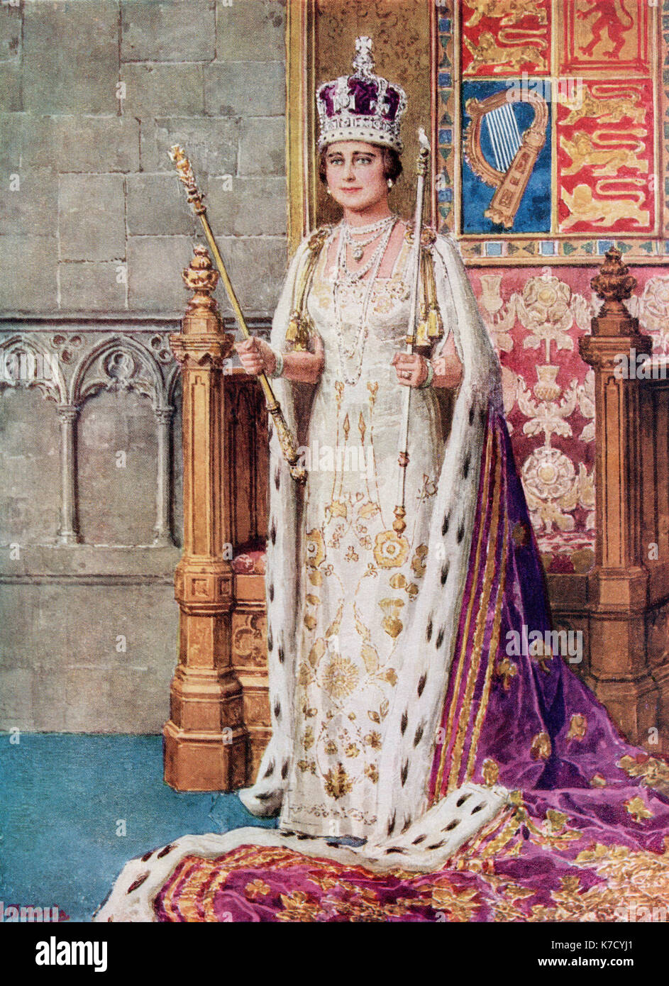 Queen Elizabeth in coronation robes, 1936.  Elizabeth Angela Marguerite Bowes-Lyon, 1900 – 2002.  Wife of King George VI and mother of Queen Elizabeth II.  From The Coronation Book of King George VI and Queen Elizabeth, published 1937. - Stock Image