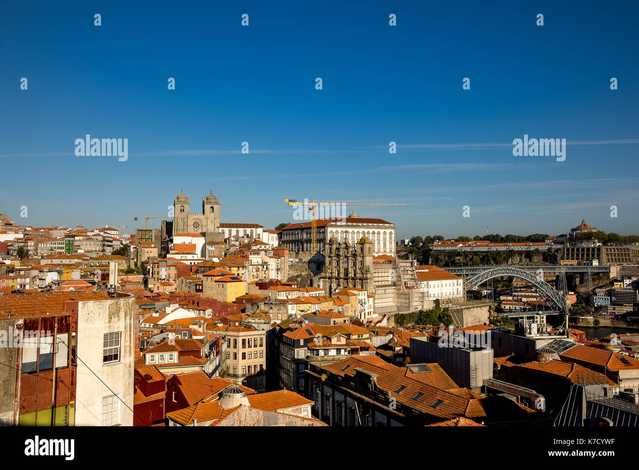 landscape view of the city Porto at the North of Portugal, this amazing site is an wide open architecture class from the roman conquers to nowadays - Stock Image