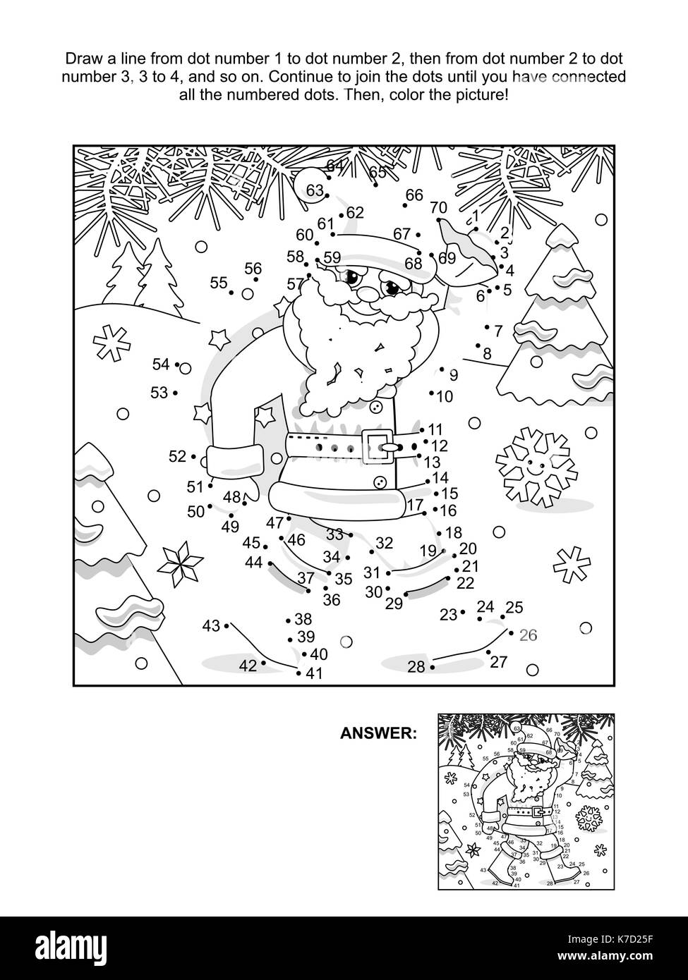 New Year Or Christmas Themed Connect The Dots Picture Puzzle And Coloring Page With Santa Delivering Sack Full Of Gifts Presents Answer Included