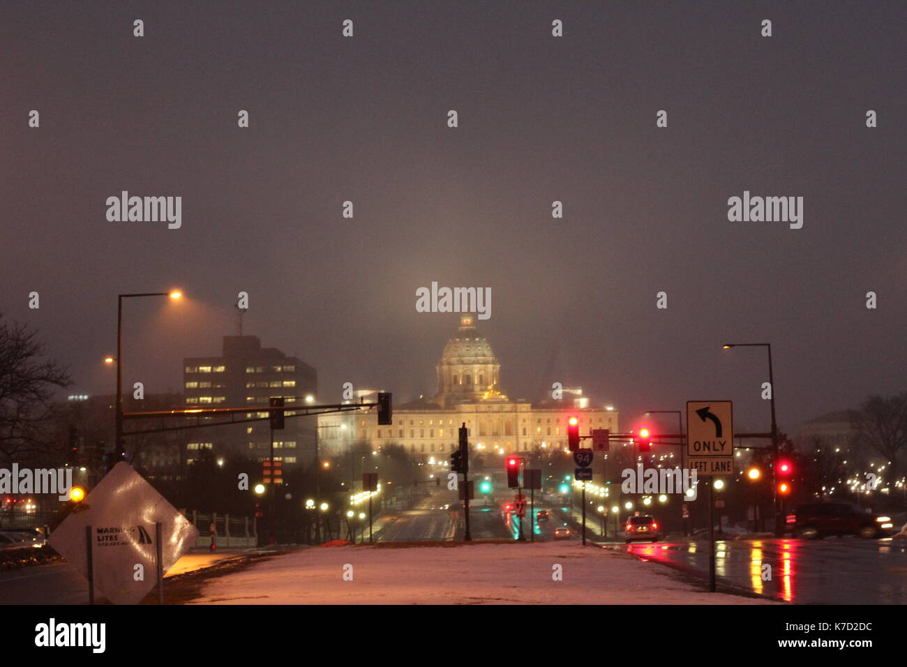 An image of the Capital of Minnesota during a misty morning. - Stock Image