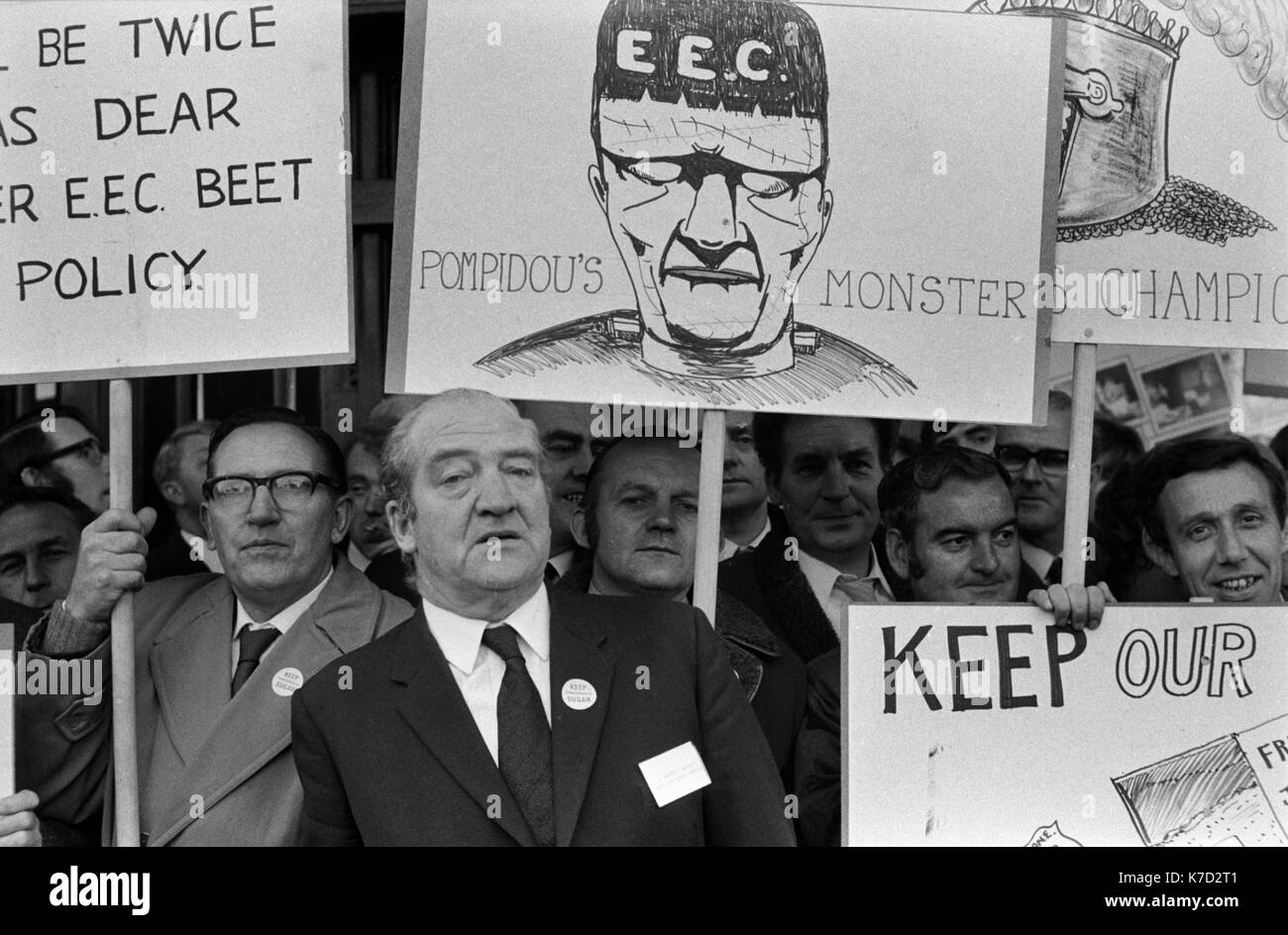 Unions, workers protest again EEC European Economic Union outside the Conservative party conference Winter gardens Blackpool Lancashire 1973. 1970s UK HOMER SYKES. - Stock Image