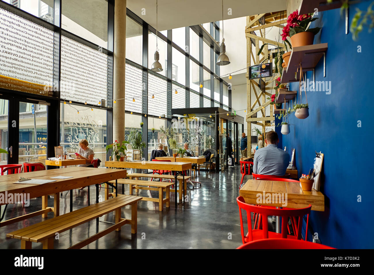 Cafe at FACT in Bold Street, Liverpool - Stock Image