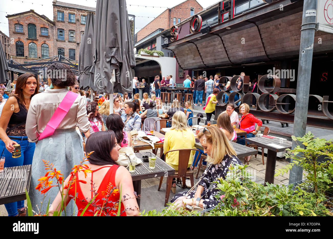 Soho bar in Bold Street area of Liverpool on a Saturday afternoon - Stock Image