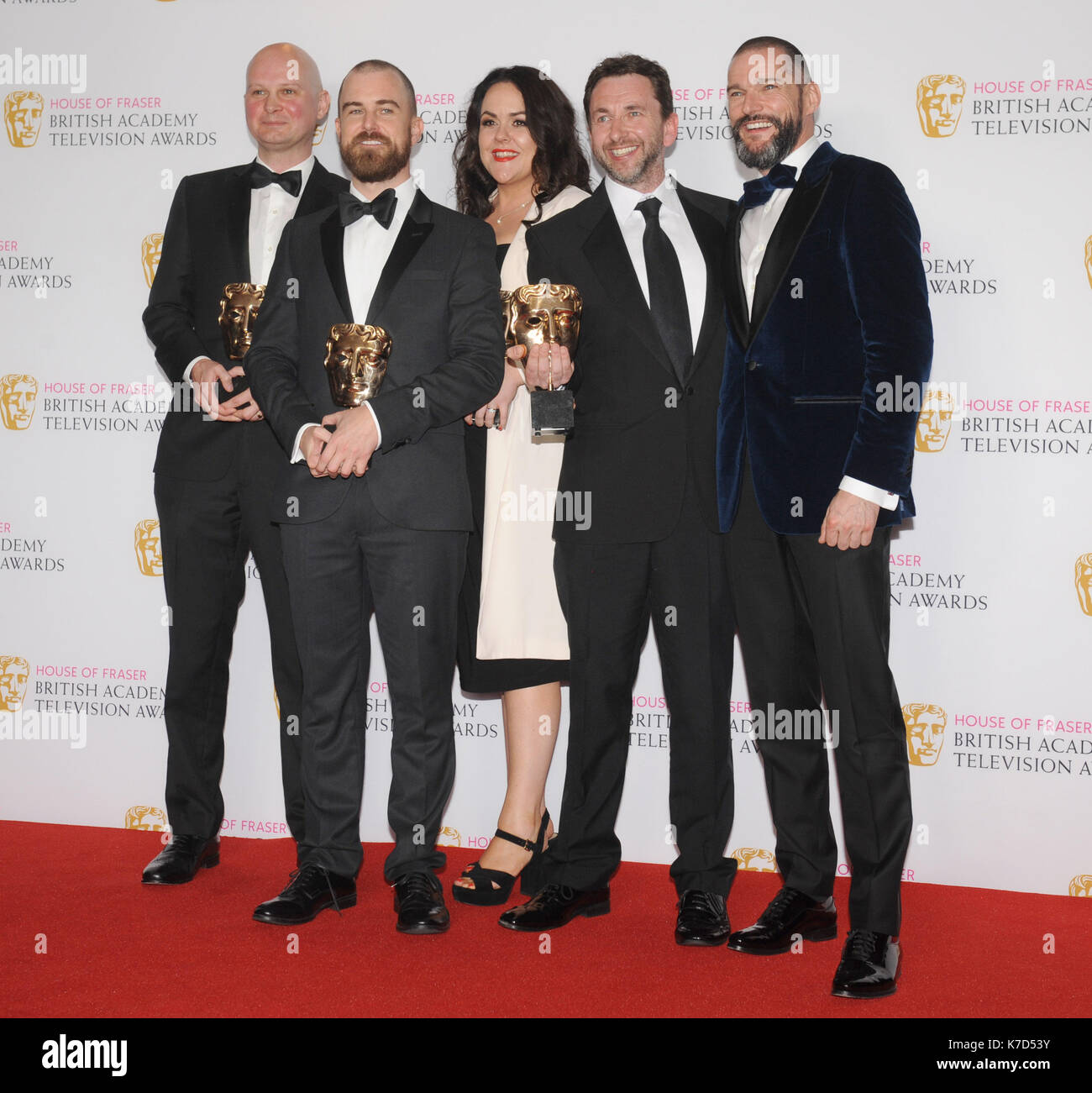 Photo Must Be Credited ©Kate Green/Alpha Press 079965 08/05/2016 Reality & Constructed Factual, First Dates , Martin Conway, Adam Chapman, Nicola Lloyd, Rob Clifford and Fred Sirieix at the House of Fraser British Academy Television Awards Bafta Pressroom held at the Royal Festival Hall in London - Stock Image
