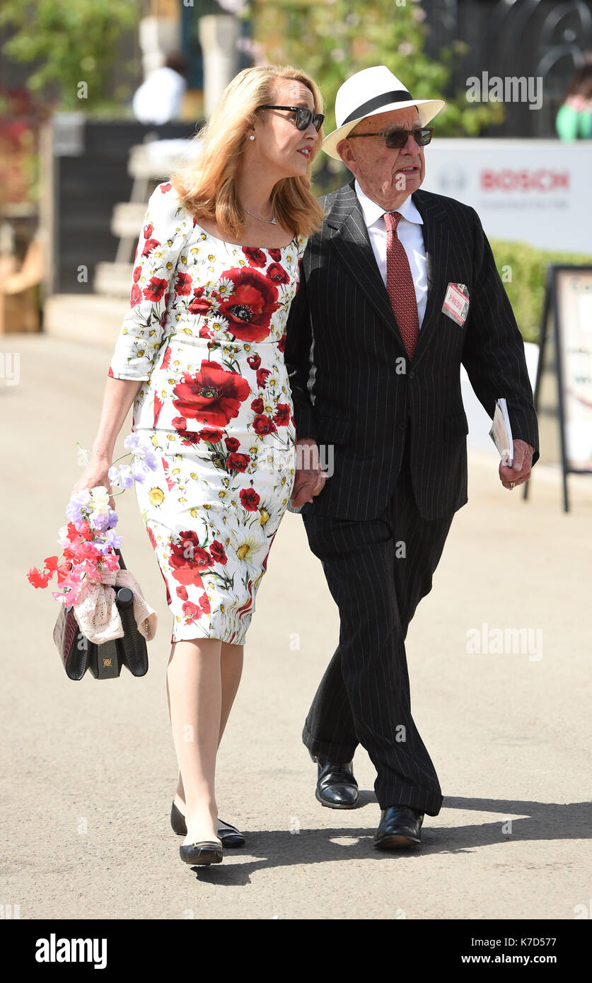 Photo Must Be Credited ©Alpha Press 079965 23/05/2016 Rupert Murdoch and Jerry Hall at the RHS Chelsea Flower Show 2016 held at the Royal Hospital in Chelsea, London. - Stock Image