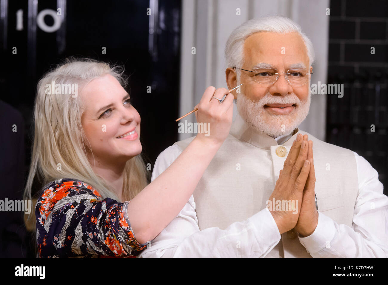 Photo Must Be Credited ©Alpha Press 065630 28/04/2016 Indian Prime Minister, Narendra Modi, this morning took his place alongside other world leaders at Madame Tussaud's London. His new wax figure today arrived at the Baker Street attraction fresh from Delhi, where Mr Modi had a private viewing with his likeness last week.  Madame Tussauds studio artist, Rebecca Ozkural puts the finishing touches to the figure. - Stock Image
