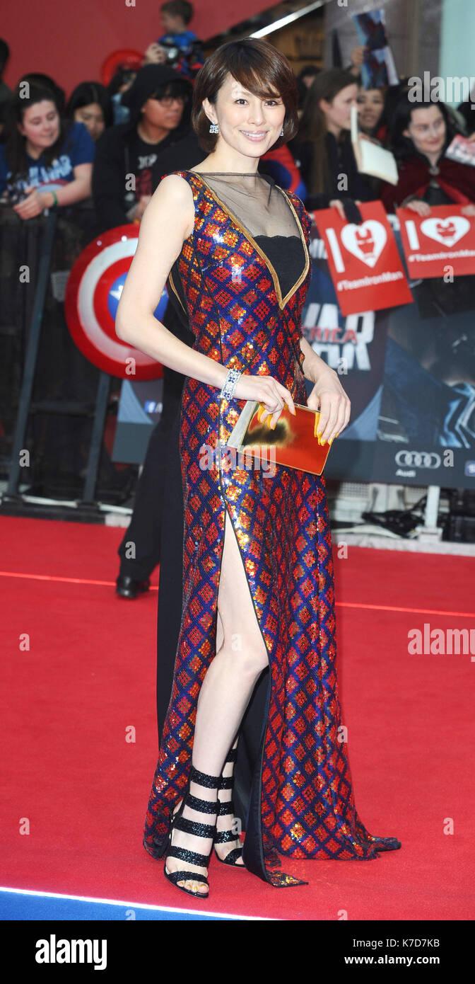 Photo Must Be Credited ©Kate Green/Alpha Press 079965 26/04/2016 Ryoko Yonekura Captain America Civil War European Premiere Westfield London - Stock Image